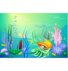 undersea world with a golden seashell and vector image