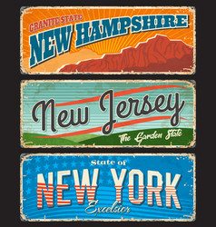 usa states travel tourism rusty metal signboards vector image