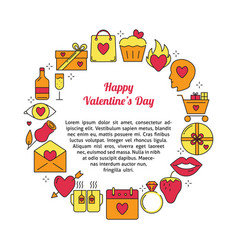 valentines day round concept with love icons in vector image