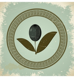 Vintage olive branch icon vector image