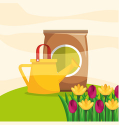 Watering can with bucket and flower garden vector