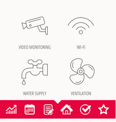 Wifi video camera and ventilation icons vector