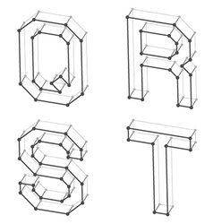 Wireframe font alphabet letters q r s t vector