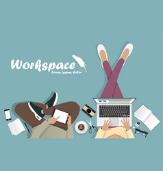 Workplace with man with laptop phone vector