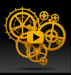 Yellow gear wheels of clockwork with move arrow vector