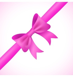 Big shiny pink bow and ribbon on white background vector image