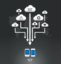 cloud infographic arrow graph vector image