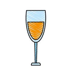 color crayon stripe cartoon glass cup with wine vector image vector image