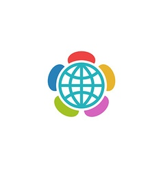 Globe flower colorful logo charitable foundation vector image
