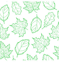 leaves seamless outline green vector image