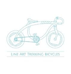 Line art trekking bicycles one vector