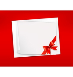 Red background with sheet of paper and red bow and vector image vector image