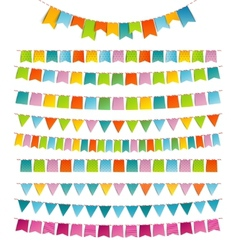 Bunting party color flags vector image