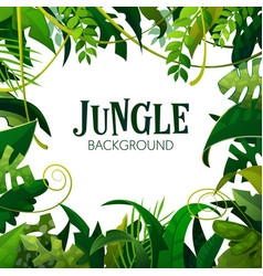 Jungle tropical leaves background vector