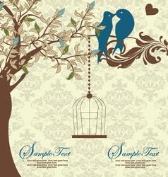 Love Birds Sitting In a Tree Wedding Invitation vector image vector image