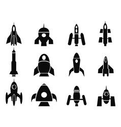 rocket icons vector image vector image