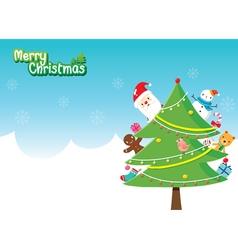Santa Christmas Tree Decoration With Ornaments vector image