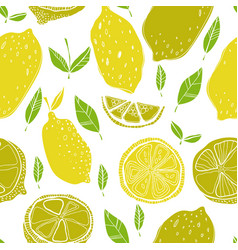 seamless pattern with lemons with leaves vector image vector image