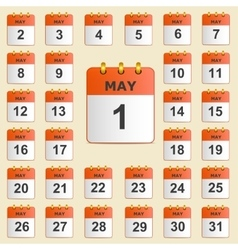 Set of icons for the calendar in May vector image