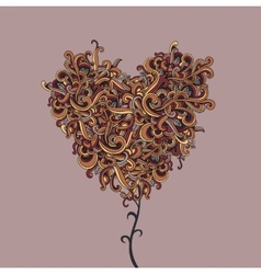 background with abstract Heart curls vector image vector image