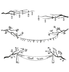 Doodle tree branches vector