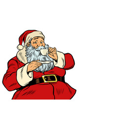 santa claus drinking tea or coffee isolated on vector image