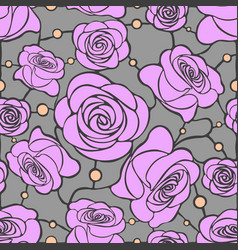 Seamless floral mosaic pattern with pink roses on vector