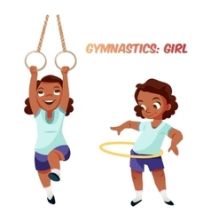 African american girl doing gymnastic exercises vector image