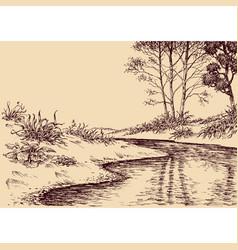 landscape drawing river flow and vegetation vector image
