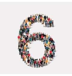 people form number six vector image vector image