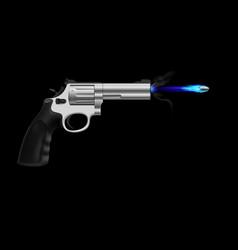 revolver firing ice bullet on black background vector image
