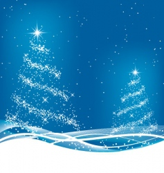two blue Christmas trees vector image vector image