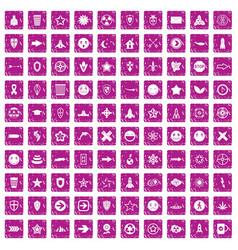 100 logotype icons set grunge pink vector image