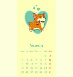2019 march calendar with welsh corgi dog falling vector image