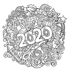 2020 doodles new year objects and vector image
