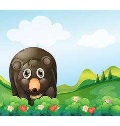 A dark gray bear in the garden vector image