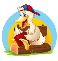 A happy duck reading vector