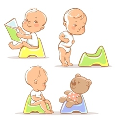 Baby on potty vector