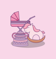 Baby shower card with cart and wooden horse vector
