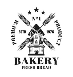 bakery vintage emblem or logo with windmill vector image