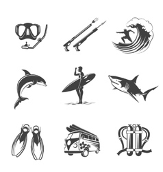 Beach icons black set Summer vacation and vector