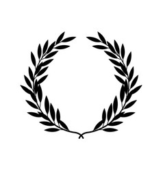 black silhouette greek laurel wreath in flat vector image