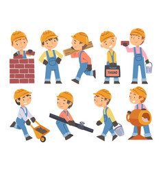 boy construction workers with professional tools vector image