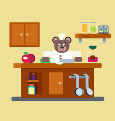 Cartoon brown bear the cook vector