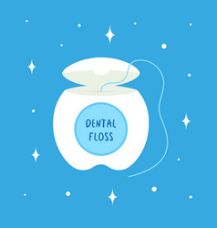 cartoon dental floss for oral care isolated vector image