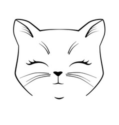 cat cute face black outline drawing kitten vector image