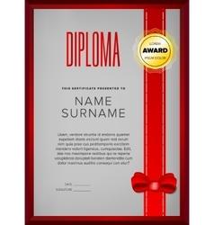 Certificate design in golden frame vector image