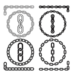 Chain icons parts circles of chains vector