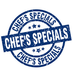Chefs specials blue round grunge stamp vector