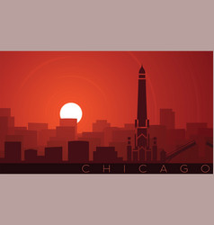 Chicago low sun skyline scene vector